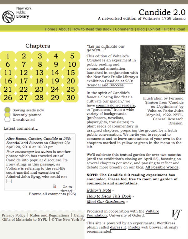 Voltaire Candide 2.0 numérique web
